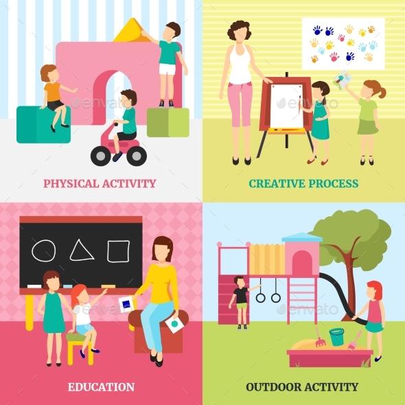 Kindergarten Concept Icons Set - People Characters