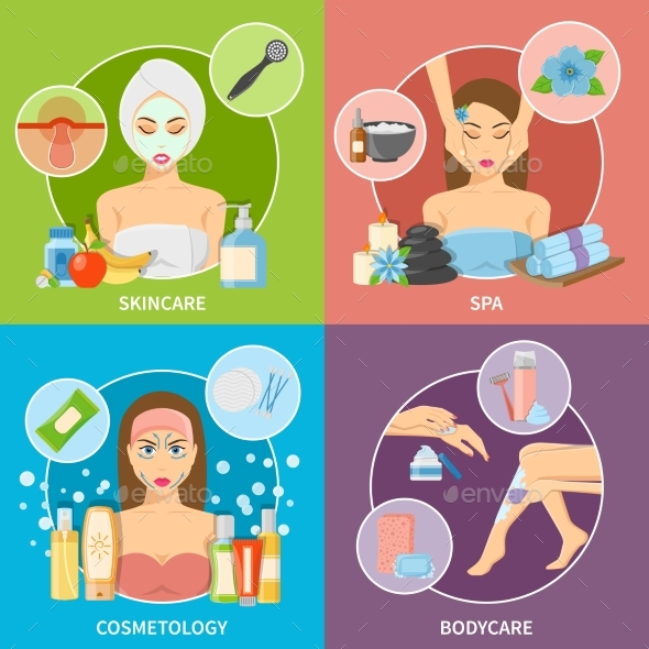 Skin And Body Cosmetology 2X2 Design Concept - Health/Medicine Conceptual