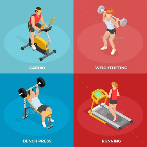 Gym Sport Isometric Concept - People Characters