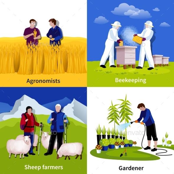Farmers Gardeners 4 Flat Icons Square - Conceptual Vectors