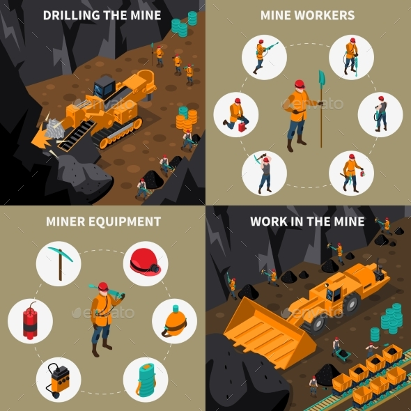 Miner People 2X2 Isometric Icons Set - Industries Business