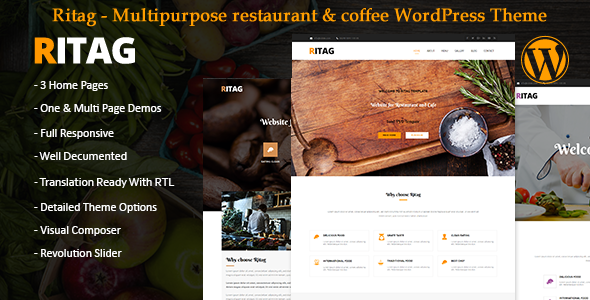 Ritag – Multipurpose restaurant & coffee WordPress Theme