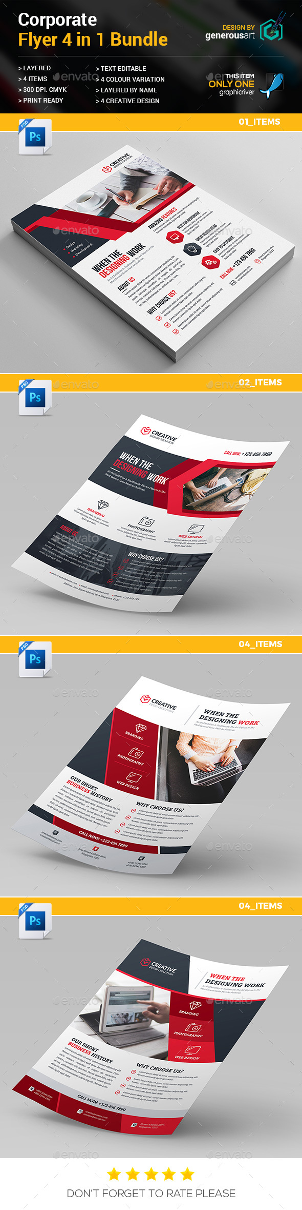 Flyer Bundle 4 in 1 - Flyers Print Templates