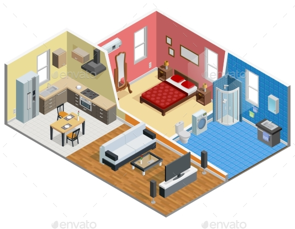 Apartment Isometric Design - Man-made Objects Objects