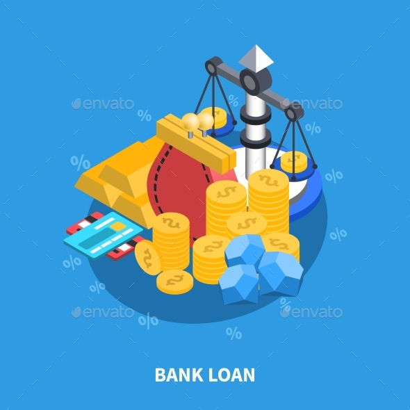 Bank Loan Isometric Round Composition - Decorative Vectors