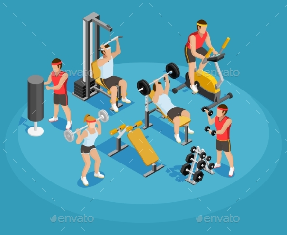 Gym Isometric Template - People Characters