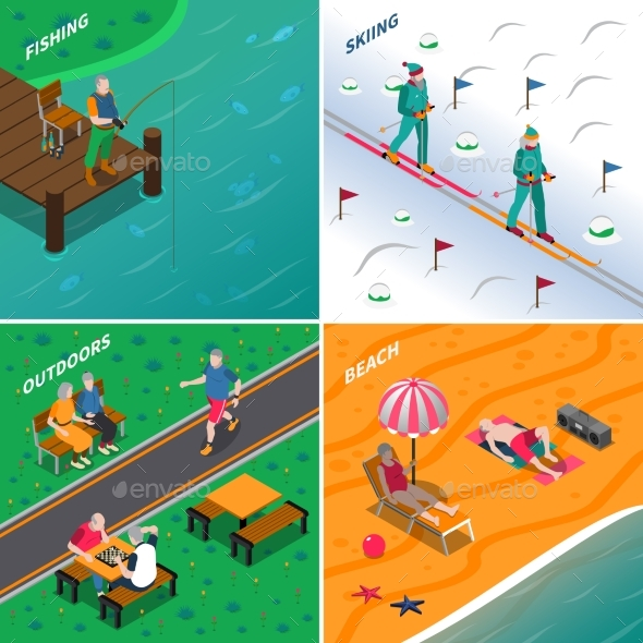 Elderly People 2X2 Isometric Icons Set - Sports/Activity Conceptual