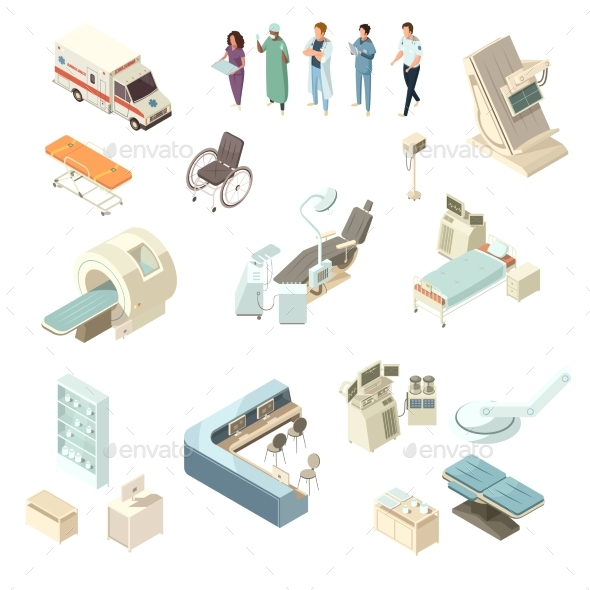 Isometric Hospital Icons Set - Health/Medicine Conceptual
