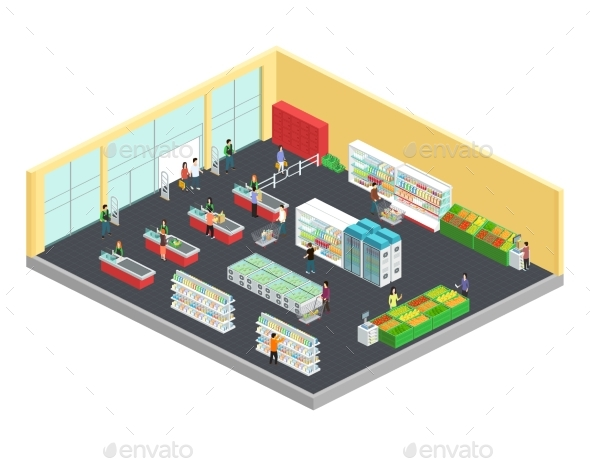 Supermarket Isometric Composition - Retail Commercial / Shopping