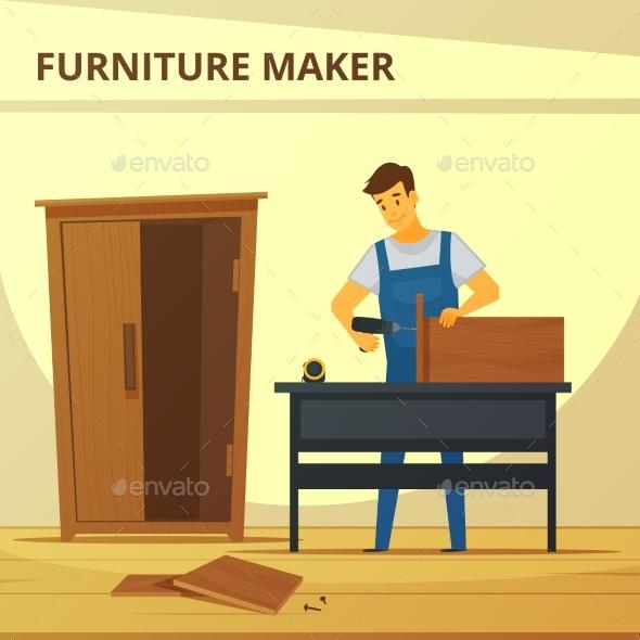 Carpenter Assembling Furniture Flat Poster - People Characters