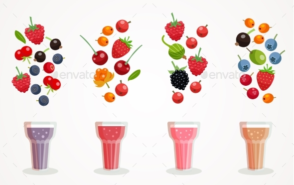 Berry Smoothies Set - Food Objects