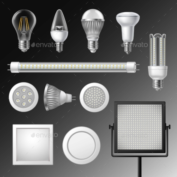 Realistic Led Lamps Set - Objects Vectors