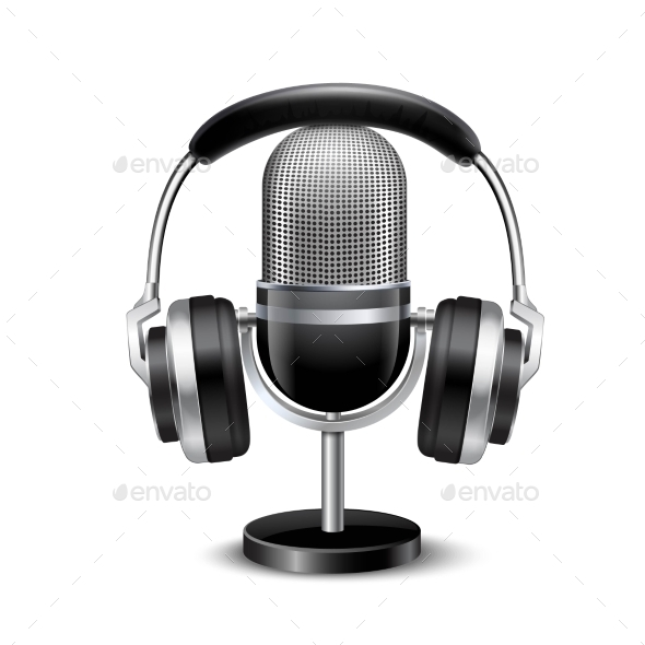 Microphone and Headphones Retro Realistic Image - Man-made Objects Objects