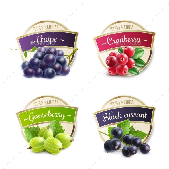 Organic Berries Labels Collection - Backgrounds Decorative
