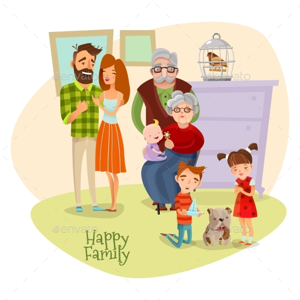 Happy Family Flat Template - People Characters
