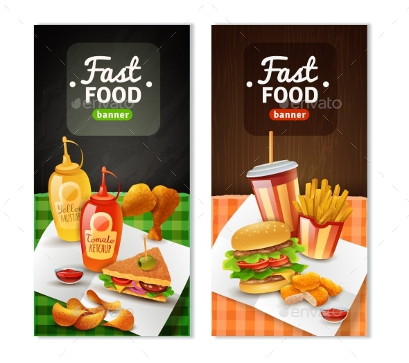 Fast Food 2 Vertical Banners Set - Food Objects