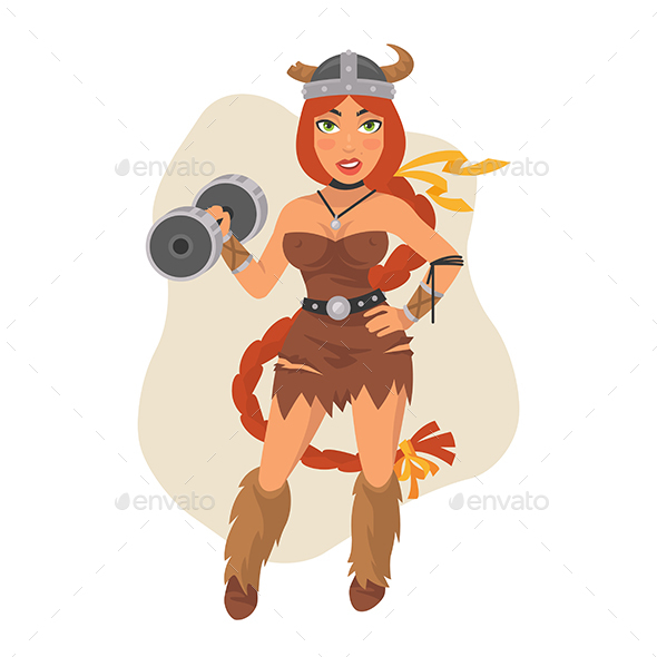 Viking Girl Holds Dumbbell - People Characters