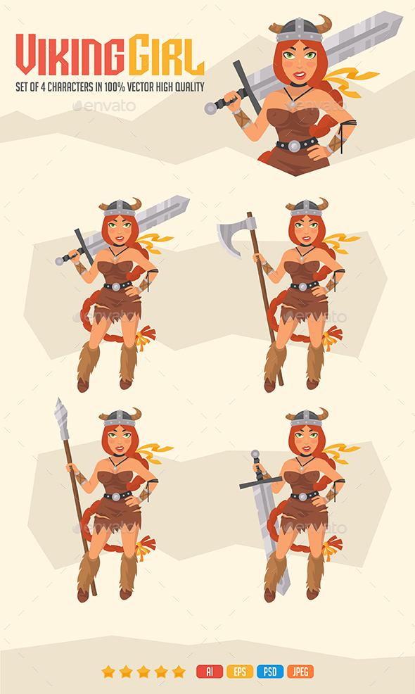Viking Girl Mascot Pack - People Characters
