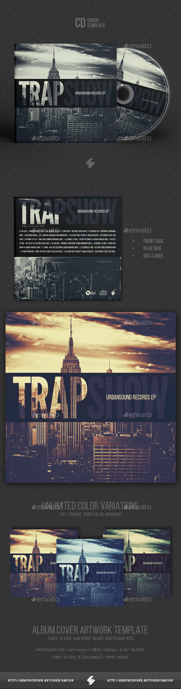 Trap Show - CD Cover Artwork Template - CD & DVD Artwork Print Templates