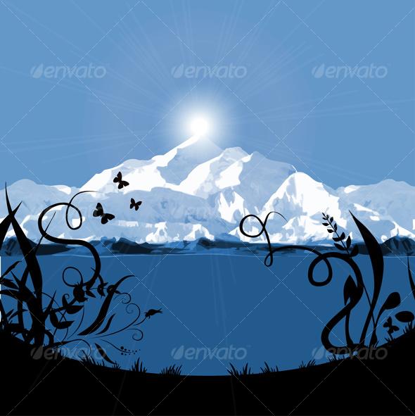 mountain sunset / sunrise card - Nature Conceptual