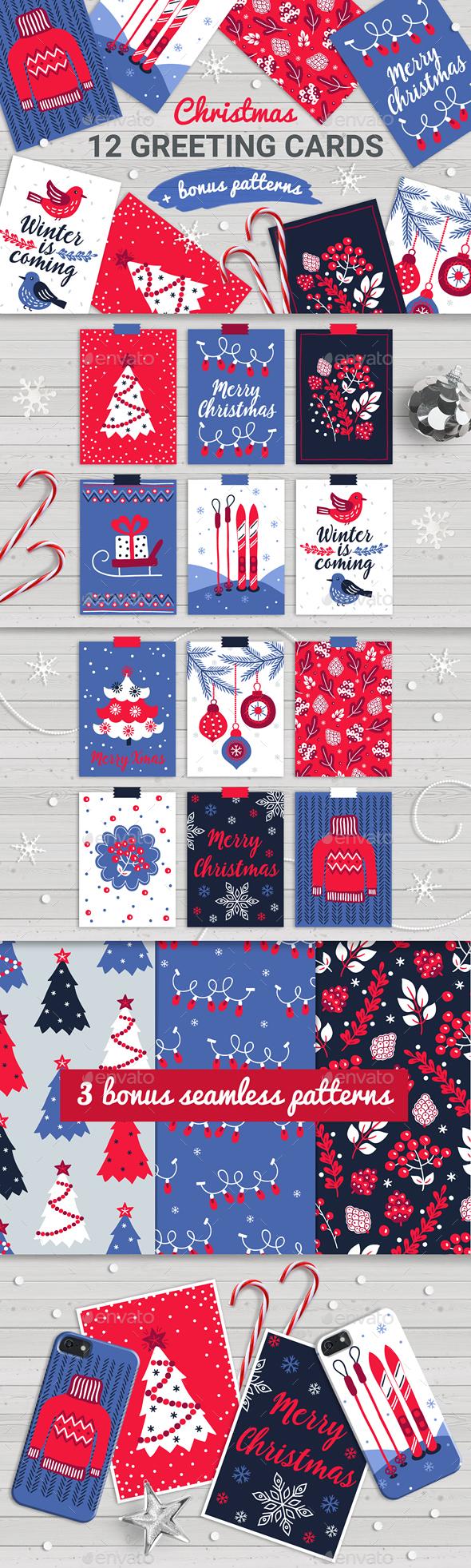 12 Christmas Cards and Seamless Patterns - Christmas Seasons/Holidays