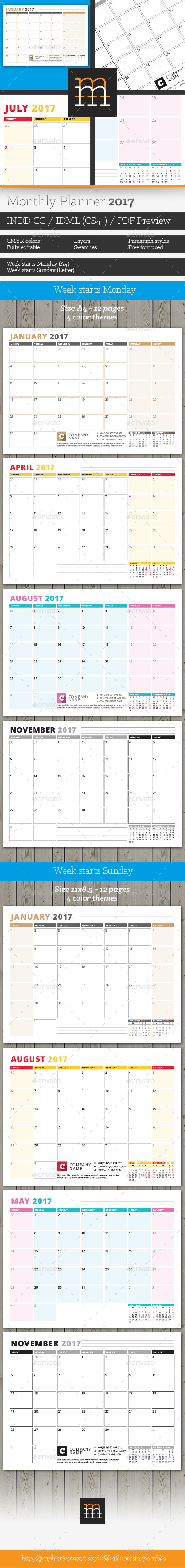 Monthly Planner 2017 - Calendars Stationery