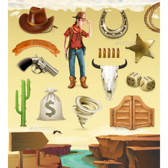 Cowboy Cartoon Character And Objects. Vector Icon Set - Vectors