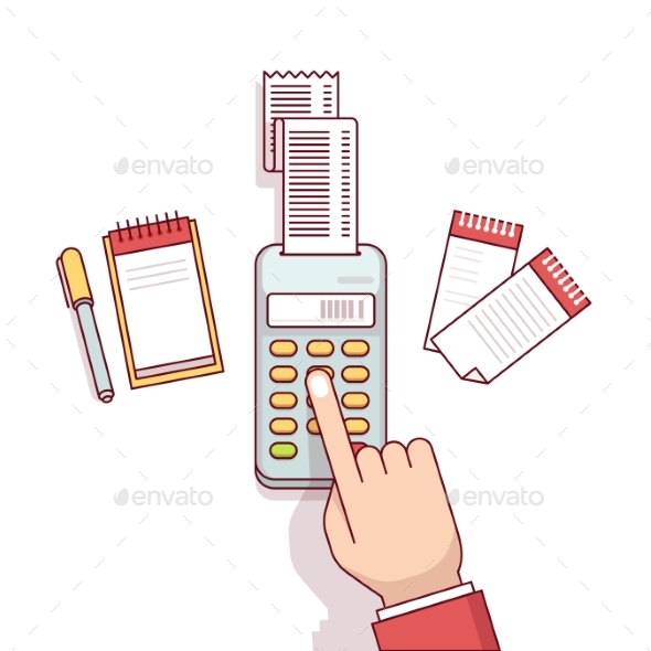 Business Clerk Making Expense Calculations - Concepts Business