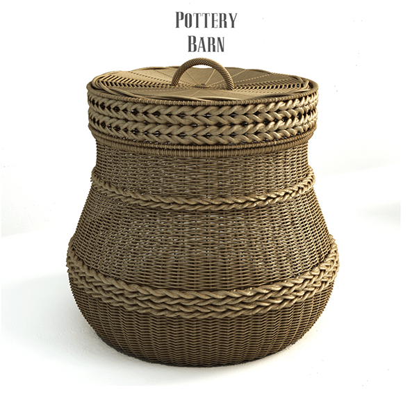 Pottery barn, Lidded Barrel Basket. - 3DOcean Item for Sale