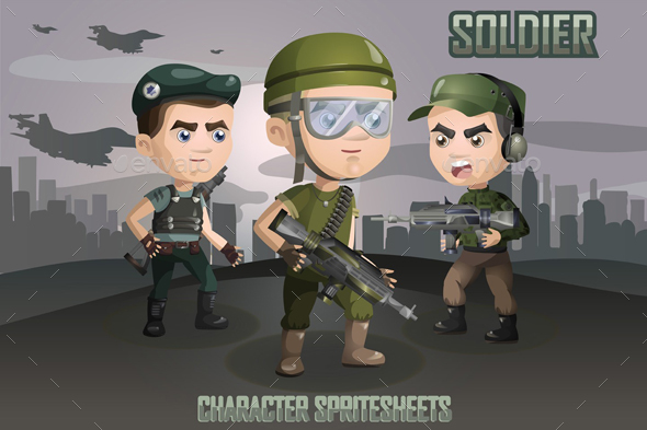 2D Game Soldiers Character Sprites Sheets - Sprites Game Assets