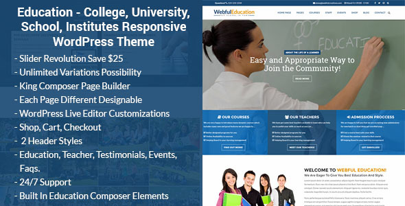 Education - College, University, School, Institutes WordPress Theme