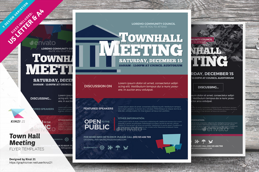 Town Hall Meeting Flyer Templates by kinzi21 | GraphicRiver