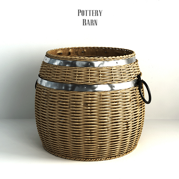 Pottery barn, Cask Lidded Basket. - 3DOcean Item for Sale