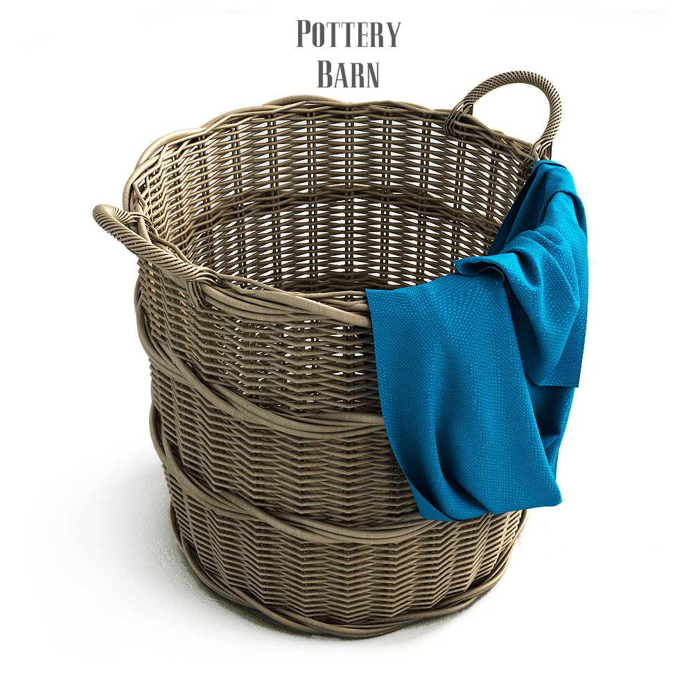 Pottery Barn Chelsea Woven Arurog Rattan Basket Extra