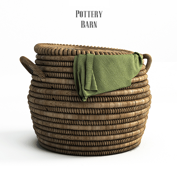 PotteryBarn, Lexine Round Lidded Basket. - 3DOcean Item for Sale