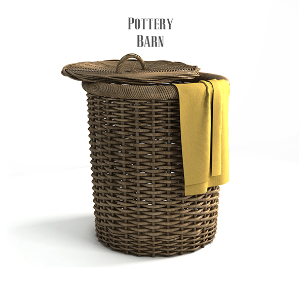 Pottery barn, Round Perry Wicker Basket Hamper Havana Weave. - 3DOcean Item for Sale