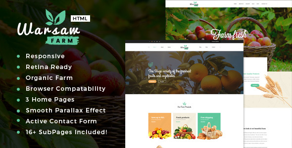 Warsaw – Organic Food, Agriculture, Farm Services and Beauty Products HTML Template