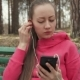 Girl Puts on Headphones and Turns the Music - VideoHive Item for Sale