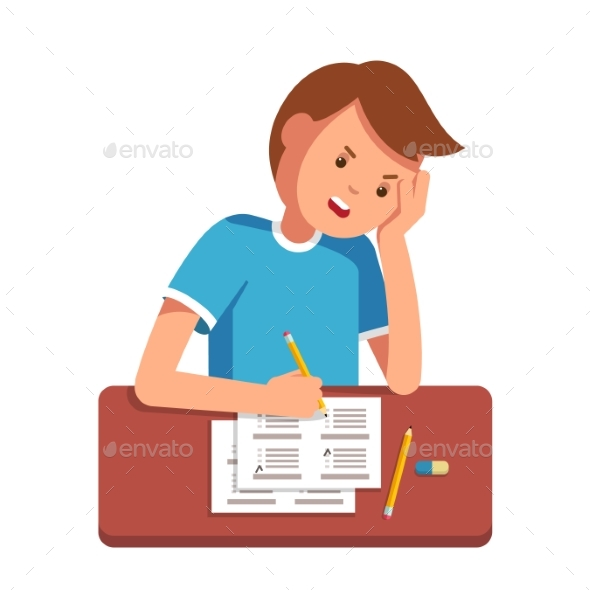 School Student Filling Out Answers to Exam Test - People Characters