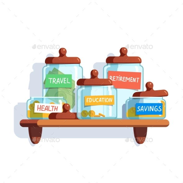 Coins and Money in Glass Jars - Objects Vectors