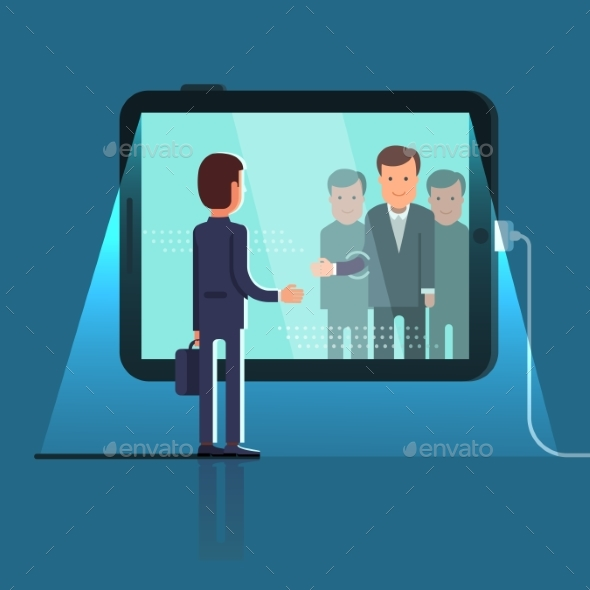 Conference Video Call Via Huge Tablet Computer - Concepts Business