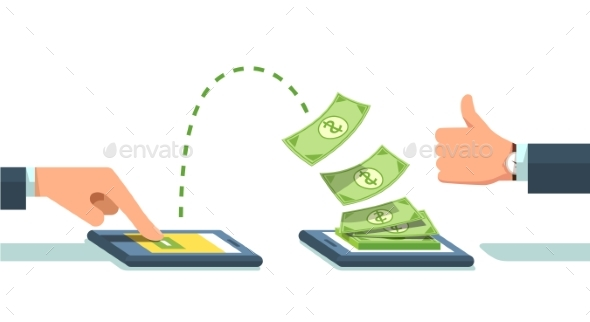 People Sending and Receiving Money Wirelessly - Concepts Business