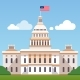 White House Building with US Flag on a Blue Sky - GraphicRiver Item for Sale