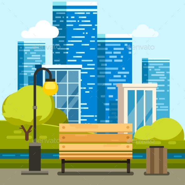 City Park with Bench and Downtown Skyscrapers - Buildings Objects
