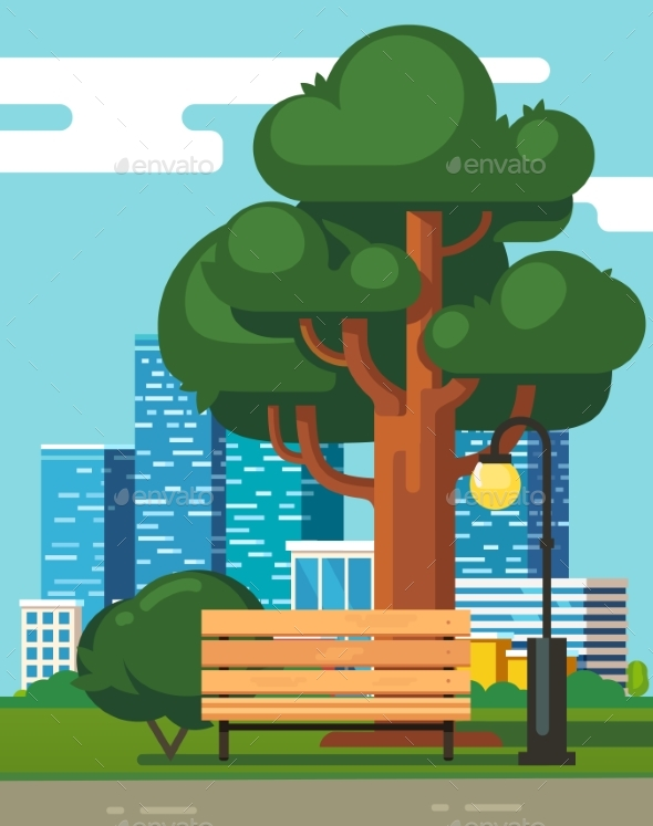City Park Bench, Big Green Oak with Skyscrapers - Buildings Objects