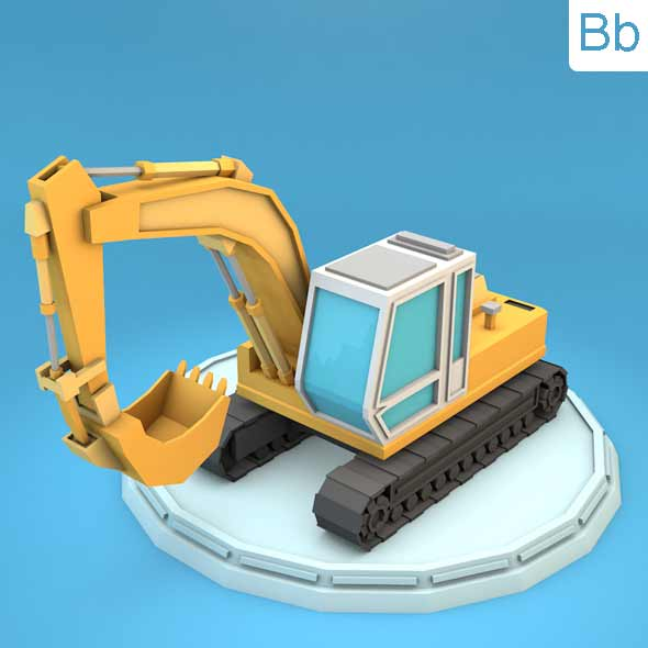 Low Poly Excavator - 3DOcean Item for Sale