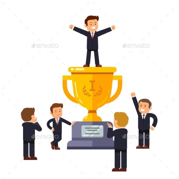 Leader Standing on Big Winner Golden Cup - Concepts Business