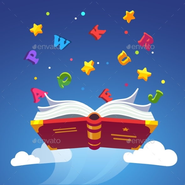 Magical Book Flying Scattering Alphabet Letters - Objects Vectors