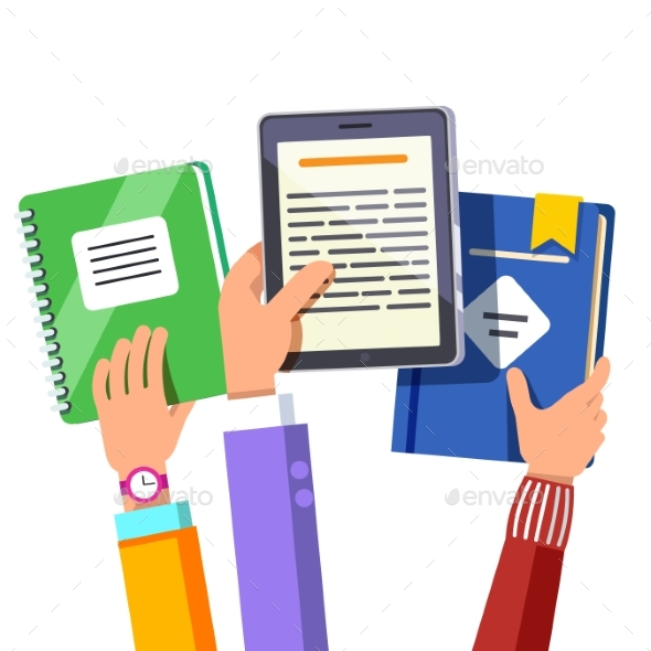 Students Holding Opened Book and Tablet Computer - Computers Technology