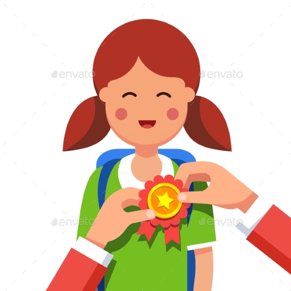 Student Girl Being Awarded for Win at School Fair - People Characters